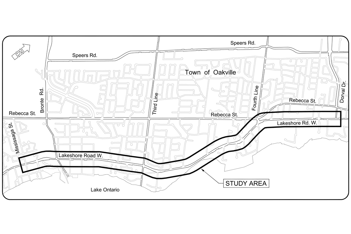 Image outlining the section of Lakeshore Road West between Mississaga Street and Dorval Drive.