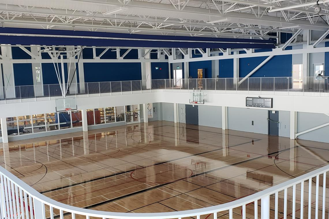 Image of the gym at the Southeast Community Centre - taken from the walking track.