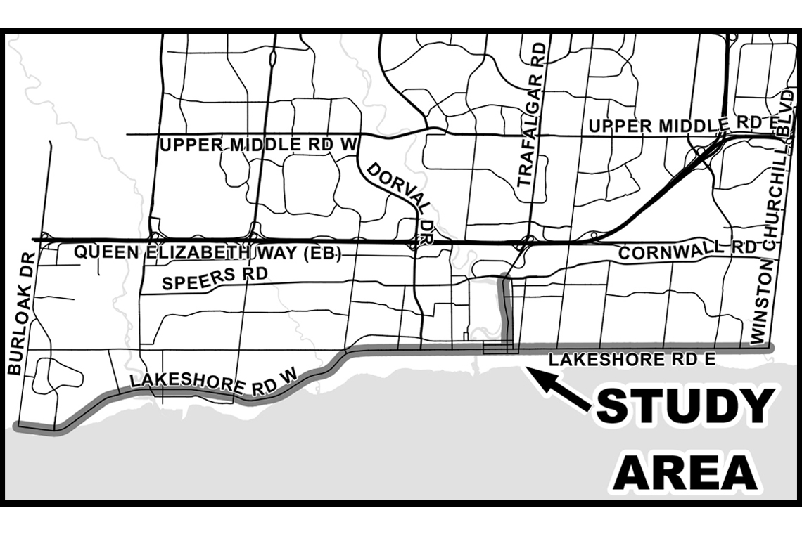 Image of a map that identifies Lakeshore Road and Trafalgar Road, between Cornwall Road to Lakeshore Road, as scenic corridors.