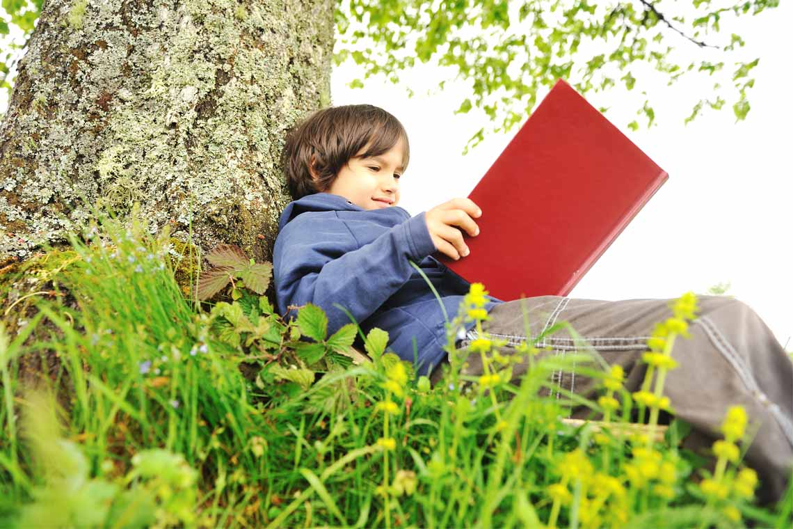 Child sitting under a tree reading