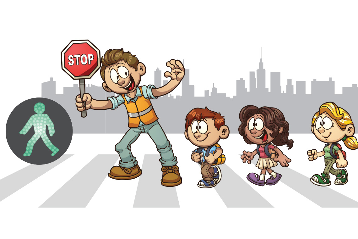 Illustration of a crossing guard.