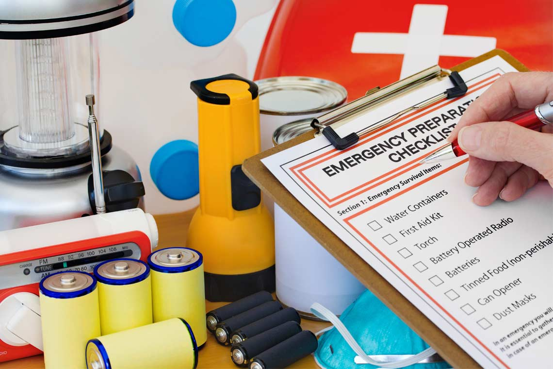 Items in an emergency preparedness kit