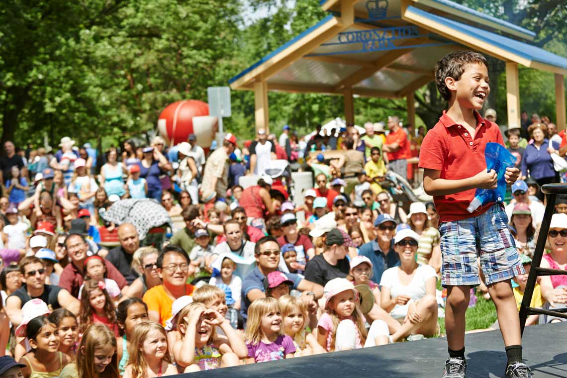 Child on stage at Oakville Children's Festival