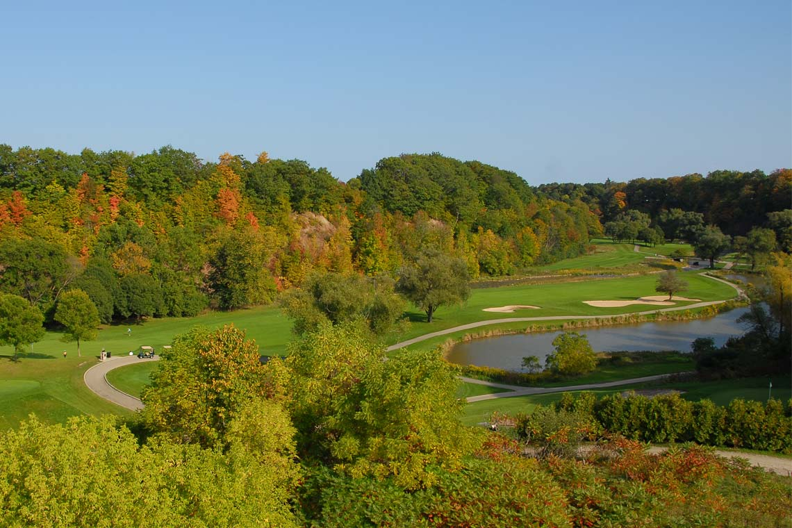 Aerial image of Glen Abbey golf course.