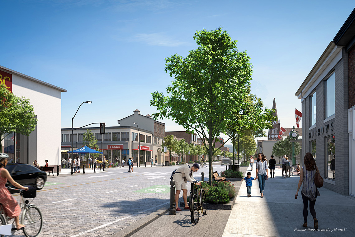 Artist's rendering of Lakershore Road streetscape.