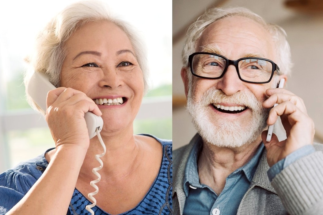 Seniors connecting by phone.