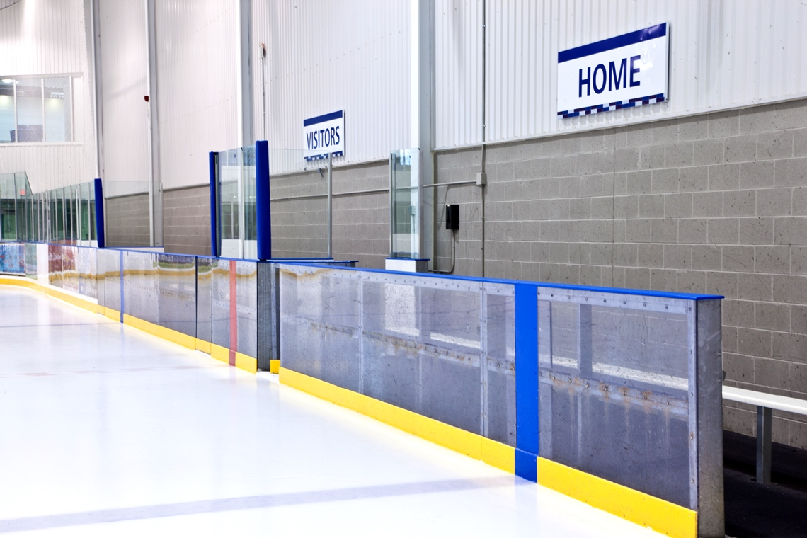 Accessible bench in Rink 2 for sledge hockey