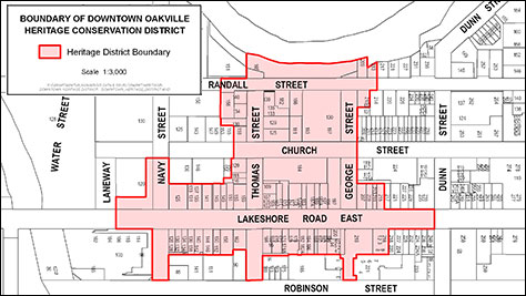 Map of proposed Downtown Oakville Conservation District roughly encompassing the area from just west of Navy Street to Dunn Street, and just north of Randall Street to Robinson Street.